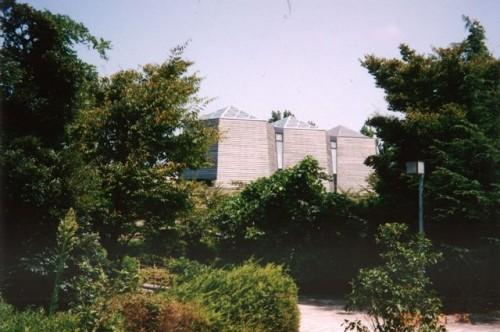 中谷宇吉郎雪の科学館 木造架構のエントランス部分の外観
